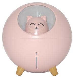 Ultradźwiękowy nawilżacz powietrza - dyfuzor (kolor: różowy, wzór: cat)