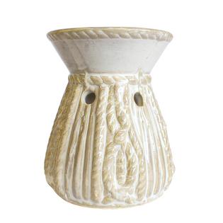 Kominek zapachowy - podgrzewacz do olejków WENECKI (kolor: biały, złoty; wzór: okrągły z warkoczem)