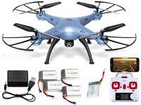 DRON SYMA X5HW KAMERA PODGLĄD FUNKCJA ZAWISU 5 AKUMULATORÓW NIEBIESKI