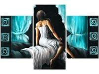 90x60cm obraz druk Obraz druk Kobieta w turkusie trzy obrazy dekoracja ścian podobrazie drewniane