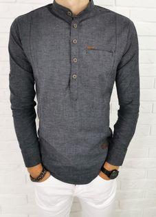 Ciemnoszara koszula meska slim fit zapiecie do polowy przeszycia 0376/172 - XL
