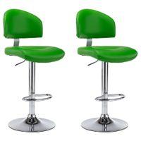 Stołki barowe, 2 szt., zielone, sztuczna skóra