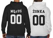 Bluzy z kapturem dla par komplet 2 szt MĘŻUŚ ŻONKA + NUMER