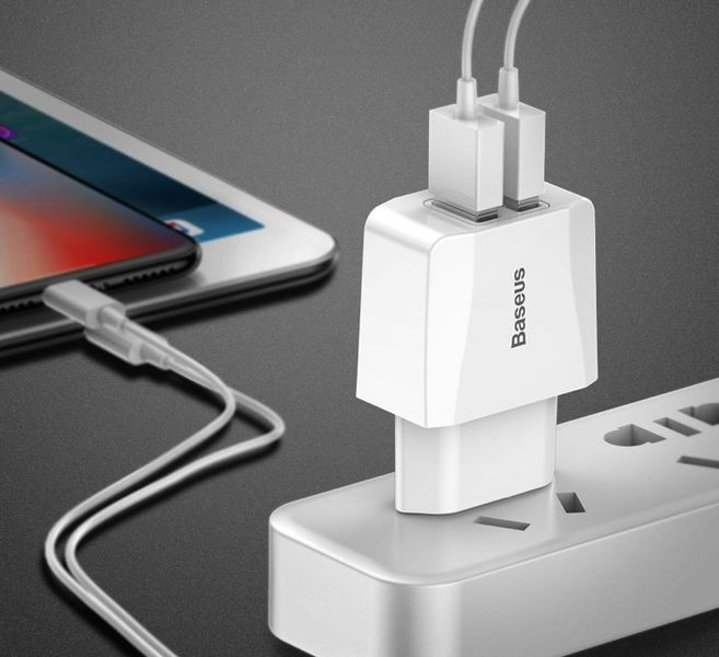 BASEUS | MOCNA ŁADOWARKA 2X USB SAMSUNG HUAWEI LG IPHONE