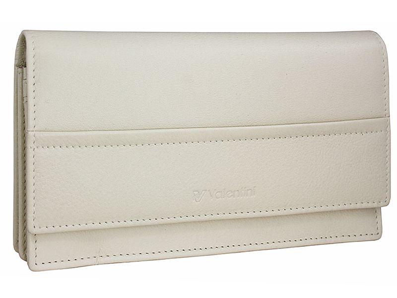 Damski, skórzany portfel w kolorze kremowym Valentini zdjęcie 1
