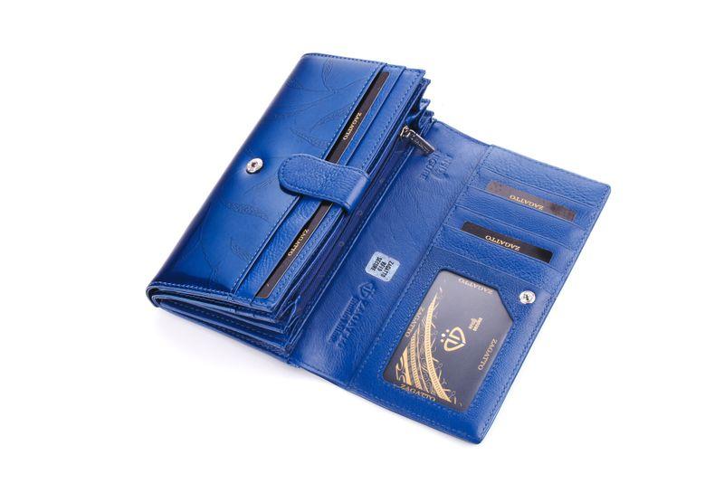 Portfel skórzany damski Zagatto granatowy w liście RFID ZG-102 Leaf zdjęcie 9
