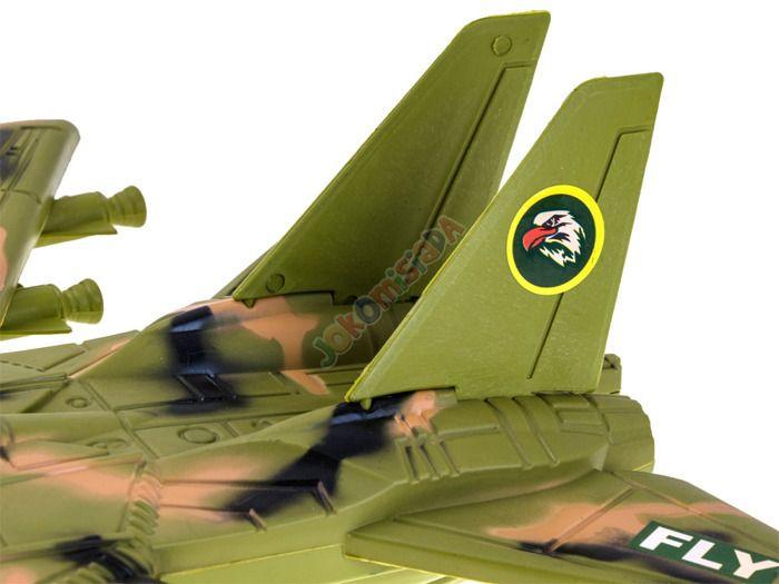 Samolot Wojskowy Myśliwiec + Figurka Flaga Efekty zdjęcie 5