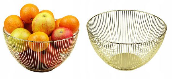 Kosz Koszyk Stalowy Złoty Patera Na Owoce Warzywa