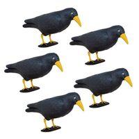 Odstraszacz ptaków 11x39x18,5cm stojący kruk czarny z żółtym dziobem zestaw 5 szt.