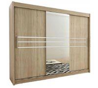 Szafa przesuwna garderoba RIKA 1-250 z lustrem biała wenge sonoma