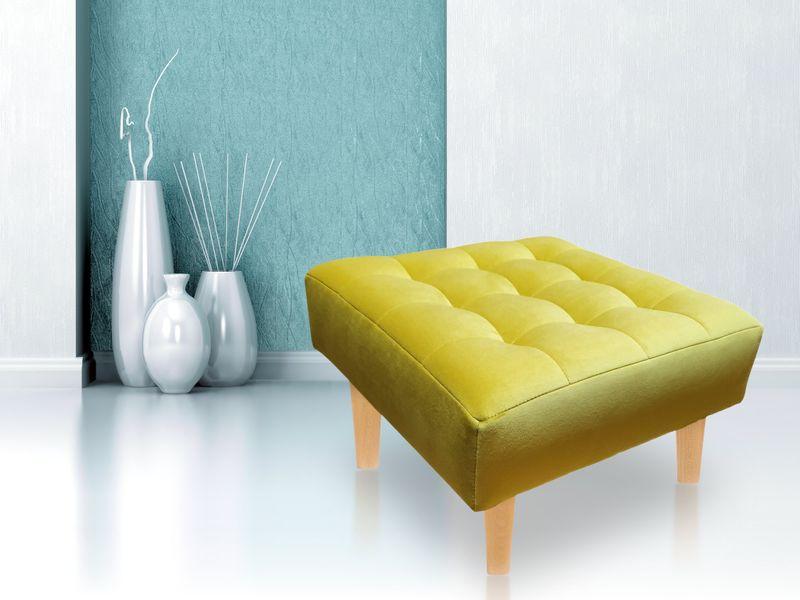 Pufa Lux podnóżek pikowana velvet glamour złota i inne kolory Hit zdjęcie 1