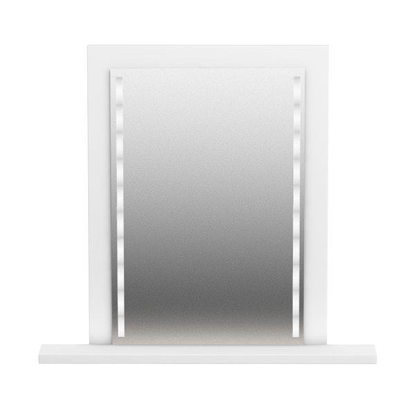 Lustro Z Oświetleniem Led Białe Z Półką 65x50 Cm