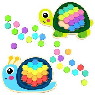 Tooky Toy Drewniana Kolorowa Mozaika Układanka Żółw Ślimak