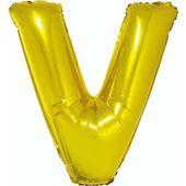 Balon foliowy LITERA V złoty alfabet napis 85 cm
