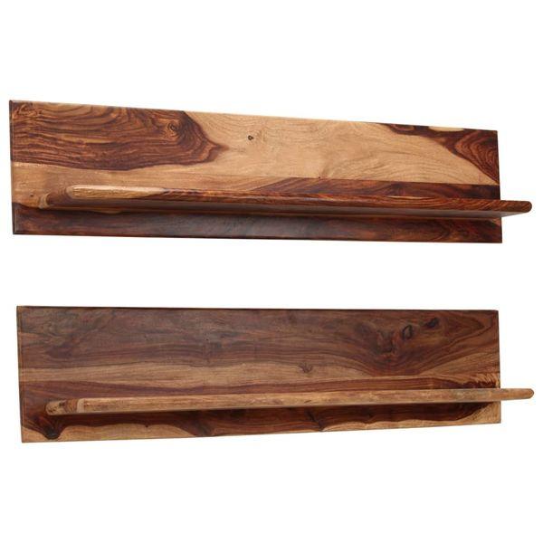 Półka Półki ścienne Drewniane Wiszące Zestaw 2 Sztuki 118x26x20cm