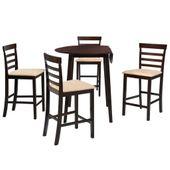 Stół Barowy I 4 Krzesła, Lite Drewno, Ciemnobrązowe zdjęcie 1