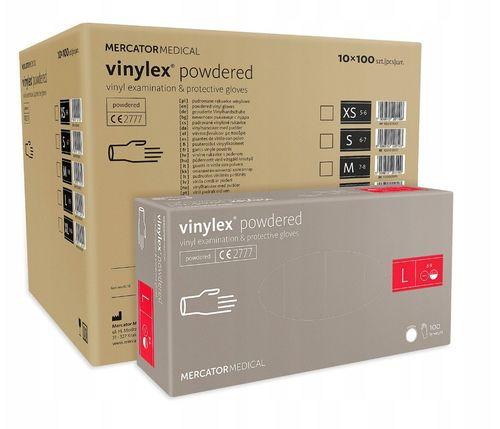 Rękawice winylowe vinylex powdered L  karton 10 x 100 szt na Arena.pl