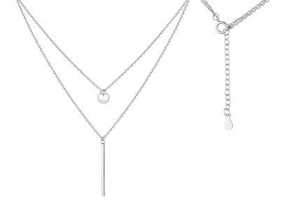 Rodowany podwójny srebrny naszyjnik gwiazd celebrytka kulka kuleczka ball sztabka blaszka srebro 925 Z1532N