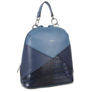 PLECAK damski eko skórzany solidny i elegancki kroko L016 niebieski