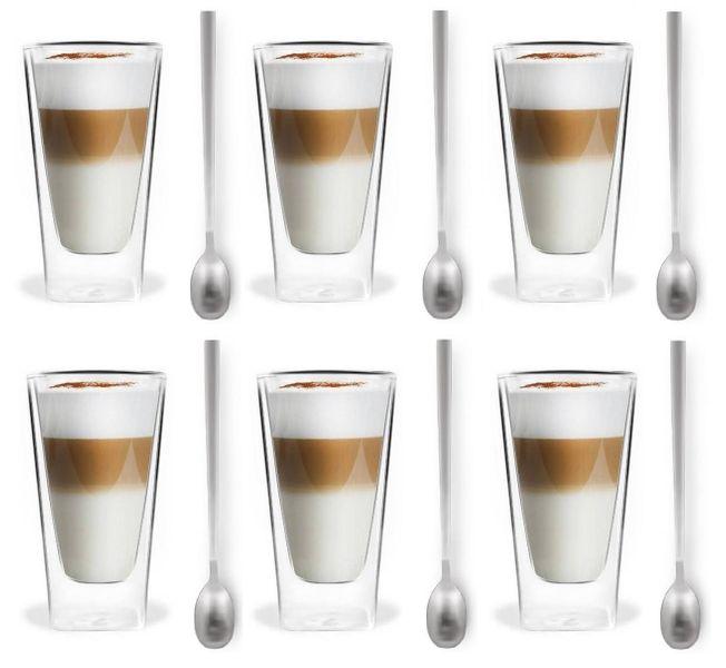 Szklanki Termiczne z Podwójna Ścianką Kawa Latte Herbata Łyżeczki 6szt zdjęcie 1