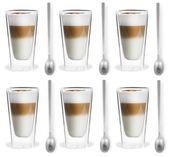 Szklanki Termiczne z Podwójna Ścianką Kawa Latte Herbata Łyżeczki 6szt