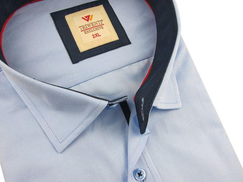 Koszula Męska Triwenti gładka niebieska na krótki rękaw duże  Q81w7