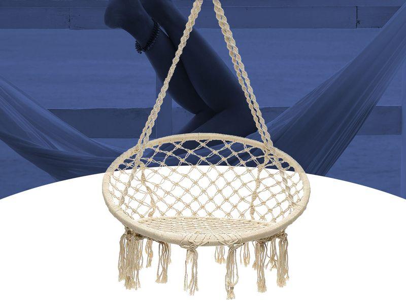 Hamak Fotel Brazylijski Krzesło Huśtawka Bujak Wiszący Biały D135 zdjęcie 2