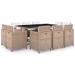 Lumarko 11-cz. zestaw mebli ogrodowych z poduszkami, rattan PE, beżowy;