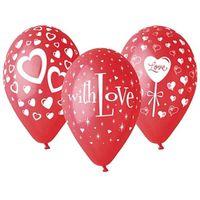 Balony LOVE czerwone w białe serduszka MIX 25 szt