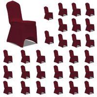 Elastyczne pokrowce na krzesła, burgundowe, 30 szt.