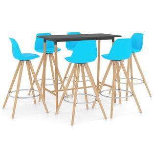 Lumarko 7-częściowy zestaw mebli barowych, niebieski