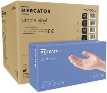 Rękawice winylowe pudrowane MERCATOR® simple vinyl M karton 10X100 szt