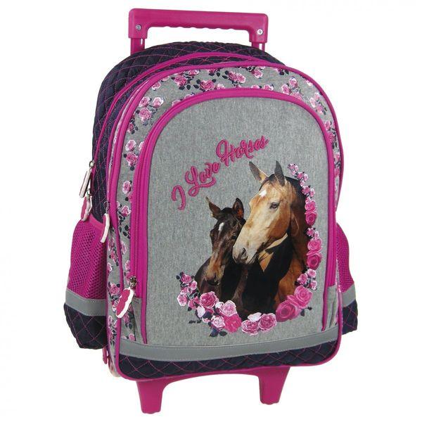 5e6e37e9cdae1 Plecak szkolny z koniem na kółkach koń z konikiem • Arena.pl