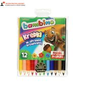Kredki ołówkowe 12 kolorów Jumbo drew Bambino