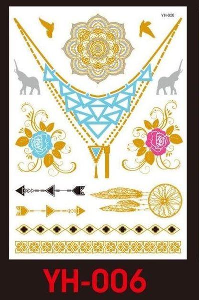 Tatuaże Metalic Złote Srebrne Flash Tatto Yh 006