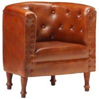 Fotel, brązowy, skóra naturalna