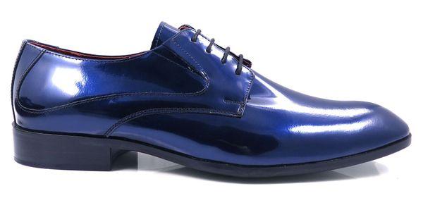 Granatowe / niebieskie lakierki męskie T20 Rozmiar Obuwia - 40