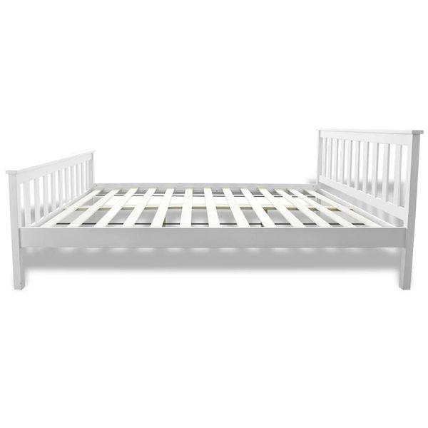 Łóżko z materacem z pianką memory, 140x200 cm, sosnowe, białe zdjęcie 6