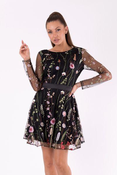 Sukienka w kwiaty z długim rękawem z siateczki czarna Rozmiar L