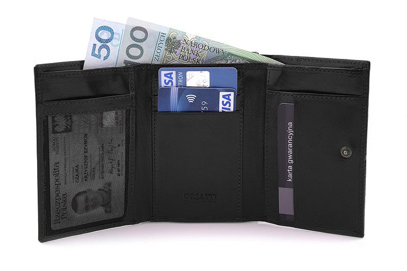 Skórzany portfel damski Orsatti D-02A w kolorze czarnym zdjęcie 7