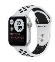 Apple Zegarek Nike Series 6 GPS, 40mm koperta z aluminium w kolorze srebrnym z paskiem sportowym  czysta platyna/czarny Nike - Regular