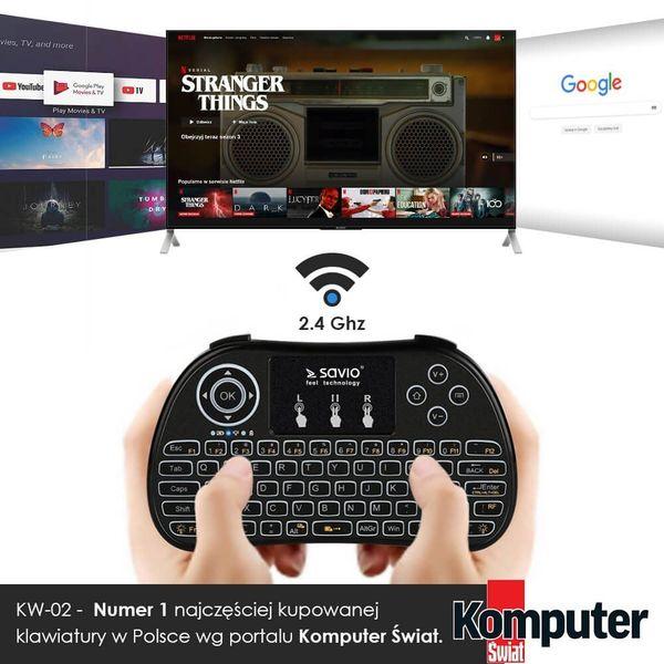 Klawiatura bezprzewodowa podświetlana SAVIO KW-02 Android TV Box, Smart TV, PS3, XBOX360, PC zdjęcie 2