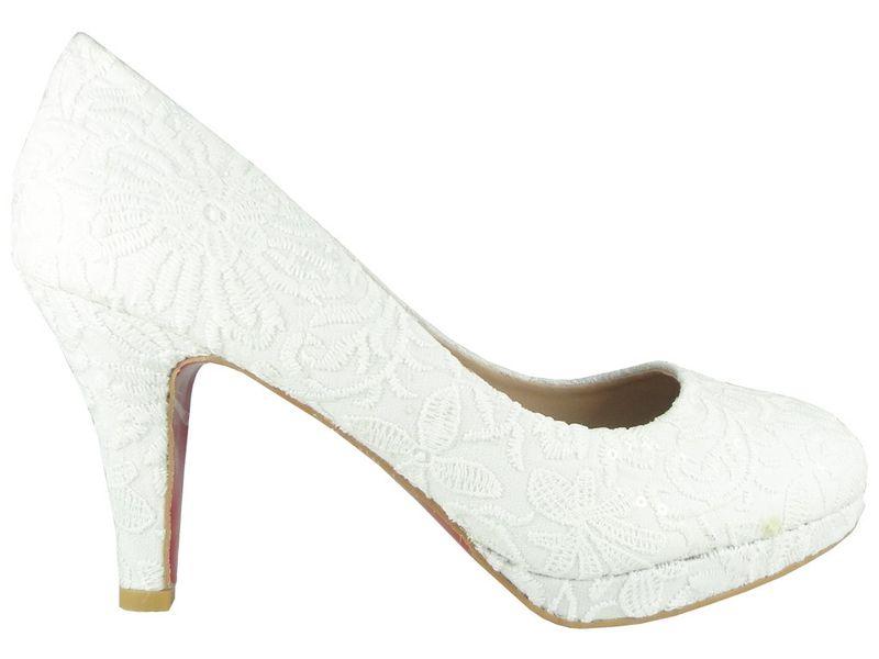 a0071668 Białe koronkowe niskie buty ślubne Rozmiar Buta - 35 • Arena.pl