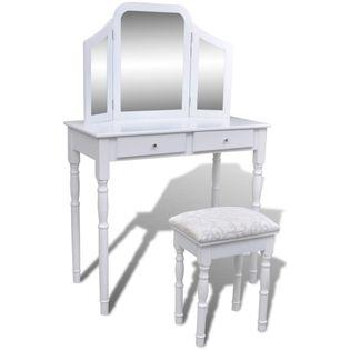 Toaletka z 3-częściowym lustrem, 2 szufladami i stołkiem, biała