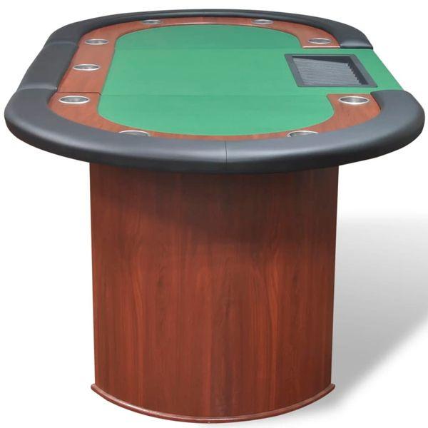 Stół do pokera dla 10 graczy z tacą na żetony, zielony zdjęcie 5
