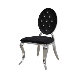 Krzesło Ludwik II glamour Black krzesła pikowane kryształkami