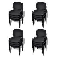 Krzesła Biurowe Tapicerowane Tkaniną 16 Szt., Sztaplowane, Czarne