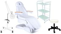 Fotel kosm. elekt. LUSSO 3+lampa lupa+taboret+stolik