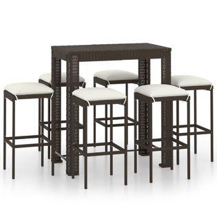 Lumarko 7-cz. zestaw mebli barowych, z poduszkami, rattan PE, brązowy;