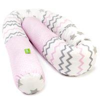 LULANDO Wałek do łożeczka - różowo/szaro /różowe